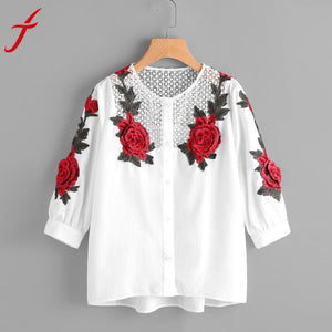 2017 New Arrival Autumn Women Hollow Out White Blouse Fashion Shirts Lady Long Sleeve Rose Floral Embroidered Shirt Female