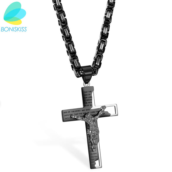 Boniskiss Bible Necklace Luxury Brand Necklace Black Color Jewelry Cross Crucifix Jesus Cross Pendant Necklaces For Women & Men