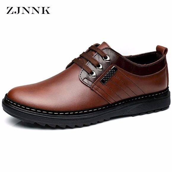 ZJNNK Factory Outlets Men Casual Shoes Leather Handmade Mens Shoes Fashion Zapatos Hombres Brand Lace-Up Men's Leather Shoes