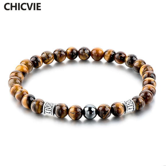 CHICVIE Tiger Eye Natural Beads Men Strand Bracelets & Bangles Silver color Femme Bracelets With Stones Brand Jewelry SBR160124