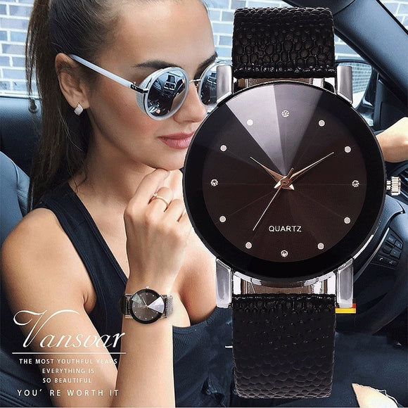 Vansvar Women Watch Luxury Brand Casual Simple Quartz Clock For Women Leather Strap Wrist Watch Reloj Mujer