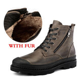 Vintage Style Men Boots Natural Leather Autumn And Winter Shoes Water Proof Work&Safety Shoes Men Quality Ankle Boots