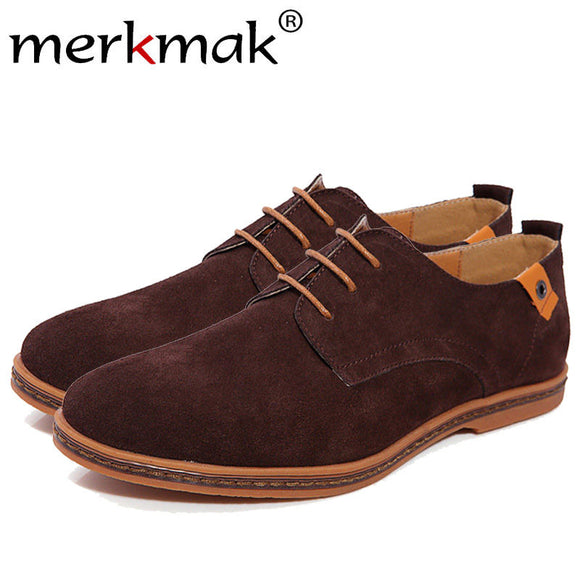 Merkmak 2017 Fashion Men Shoes Suede Leather Casual Lace-up Men's Flats Shoes for Man Rubber Outsole Driving Footwear Drop Ship