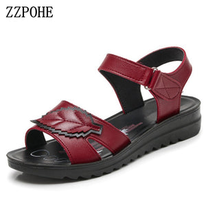 ZZPOHE 2017 summer new fashion Woman sandals mother large size Flat leather Sandals slip comfort elderly Soft bottom sandals