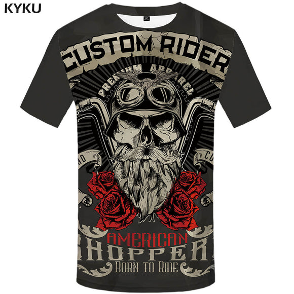 KYKU Brand Motorcycle T Shirt Punk T-shirt Knight Shirts 3d T Shirt Men Casual Rock Vintage Hip Hop Summer Tee Top Homme Clothes