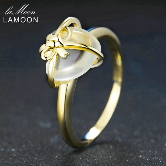 Lamoon Romantic Heart Natural Citrine 925 Sterling Silver Jewelry Wedding Ring with For Women LMRI052