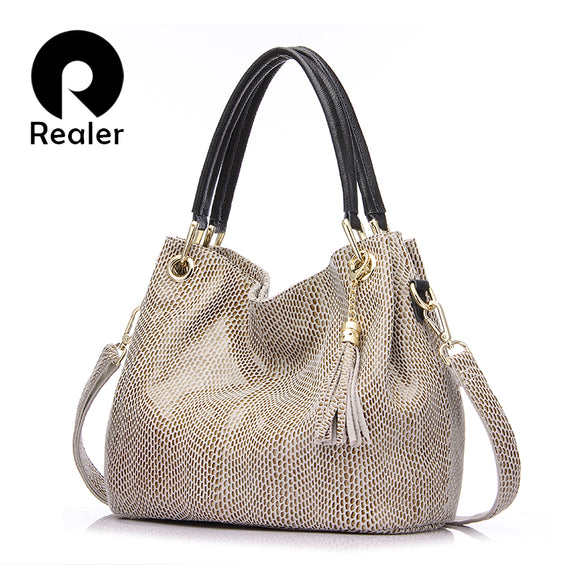 REALER woman handbag genuine leather brand bag female hobos shoulder bags high quality leather tote bag
