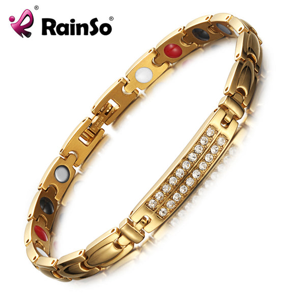 RainSo Magnetic Bracelets & Bangles for Women Zircon crystal Bracelets Healthy Jewelry for Women Bio Energy Hologram Bracelets