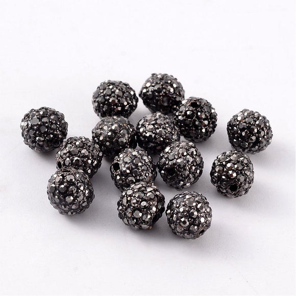 100pcs 8mm Black Metal Alloy Rhinestones Beads for jewelry making, Jet HematiteHole: 2mm