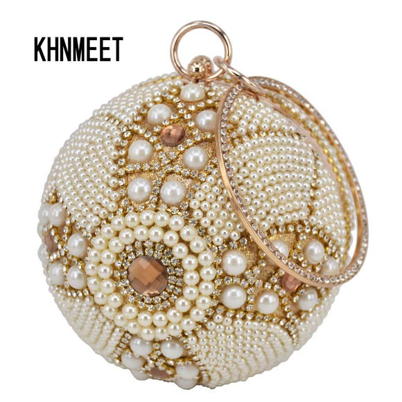 Design Gold ball Wristlets Bag Women Silver Beaded Pearl Mini Tote Handbag Chain Lady Wedding Bridal Evening Purse Clutch Bag