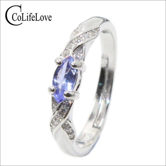 Fashion tanzanite silver ring 3 mm * 6 mm natural VS tanzanite ring for girl solid 925 silver tanzanite engagement ring for lady