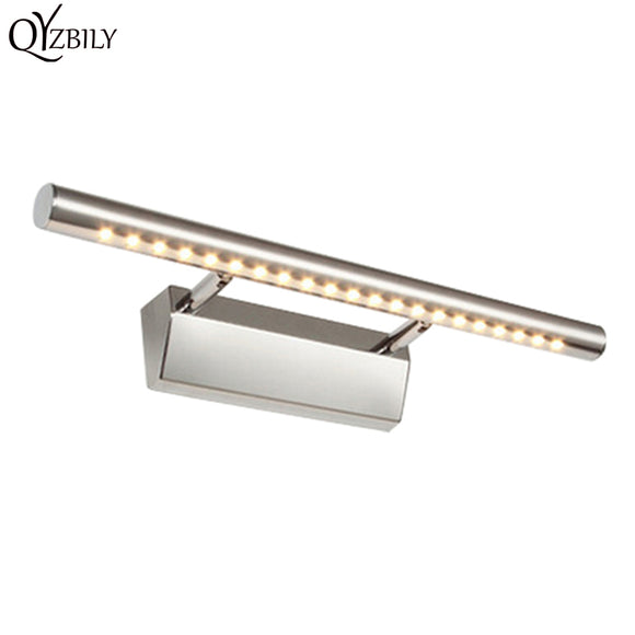 Modern Bathroom LED Wall Light Industrial Stainless Steel 90-265V Mirror Front Wall Lamp For Home Lampara Pared Abajur Luminaire
