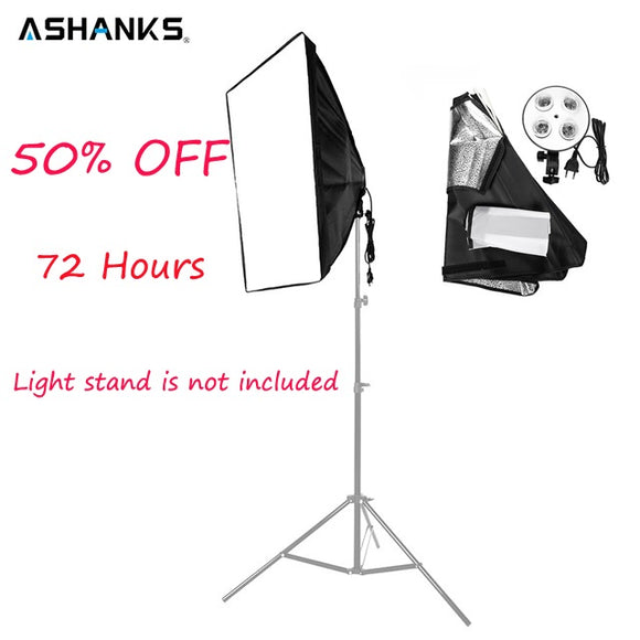 ASHANKS 50* 70cm/19*27'' Softbox with 1 to 4 Socket Lights & Lighting Accessories for Photo Video Studio Light Diffuser Soft box