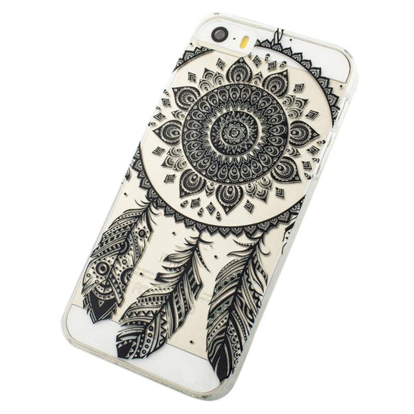 Black Transparent Dream Catcher Pattern Hard cover case for iPhone 5C Drop shipping