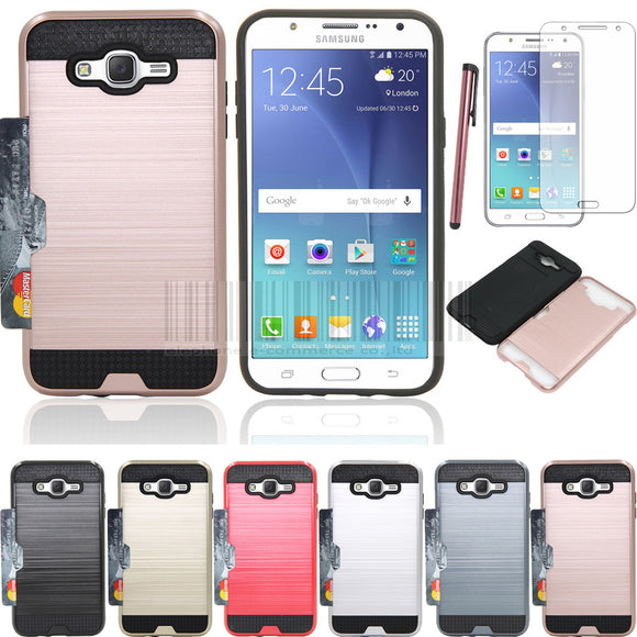 2in1 Hybird Brush Armor Card Holder Shokcproof Protective Case Cover With Stylus+Films For Samsung Galaxy J7 J700 J700F J700H