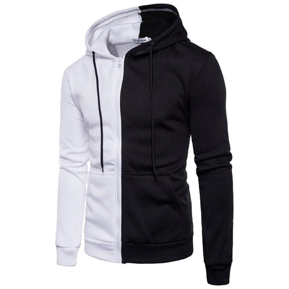 Men Long Sleeve Hoodie Stitching Zipper Coat Jacket Outwear Tops