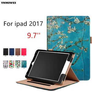 Tablet Case For iPad Air Air 2 ipad 9.7 2017 Ultra thin Flip Wallet Case PU Leather Cover For Apple Ipad 2017 9.7'' +Protector