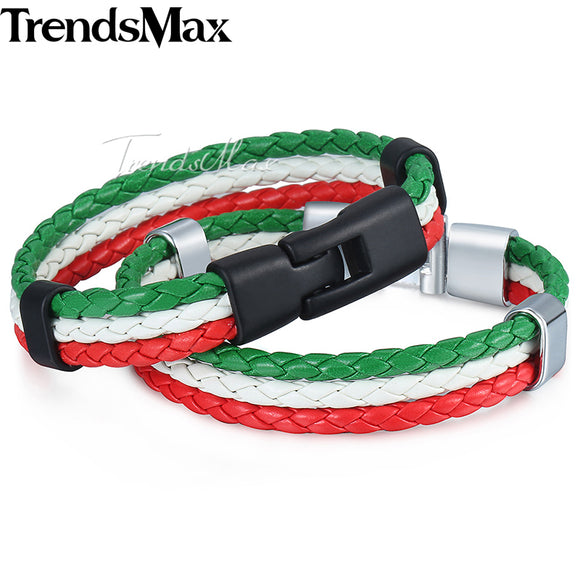 Trendsmax Italy Flag Leather Bracelet Mens Rope Surf Handmade Braided Wristband Friendship Womens LB141