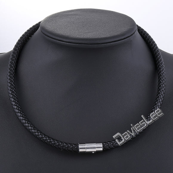 Davieslee Mens Chain Women Black Brown Braided Rope Leather Choker Necklace Stainless Steel Clasp DLUNM09