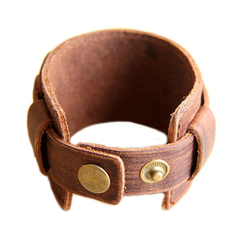 2016 Retro Genuine Leather Buckle Punk Cuff Bangle Wristband Men's Chic Bracelet ARG2