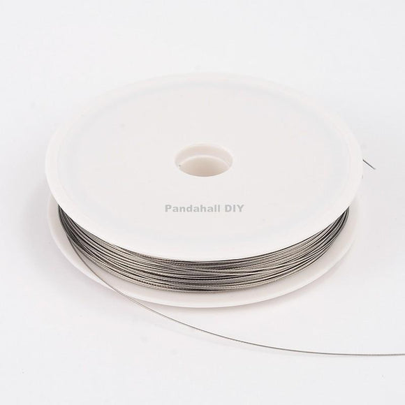 0.45mm Tiger Tail Wire Spool LightGrey Stainless Wire Jewelry Findings about 50m/roll