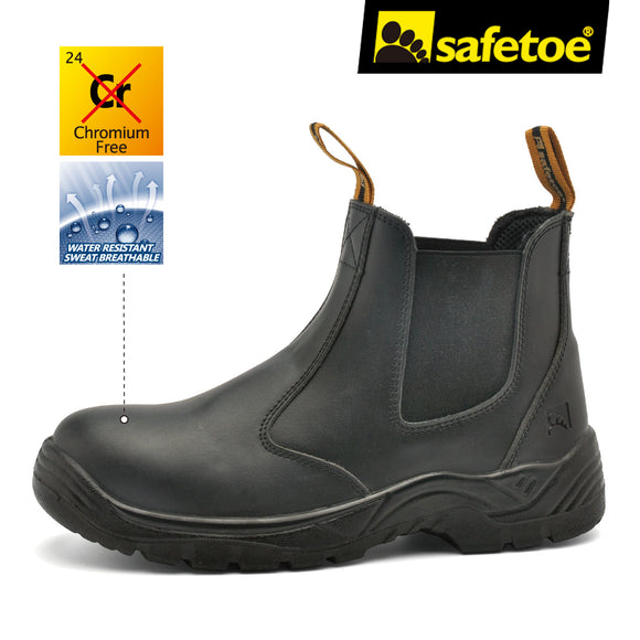 Safetoe Safety Shoes Work Boots Cow Leather Water Resistant Fast Wearing Steel toecap Light Weight Anti-static Mens Size