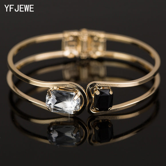 YFJEWE Fashion Women Bracelet gold color Elegant Jewelry Fashion Bud Crystal Bracelets Bangles Christmas Gifts For Women B004