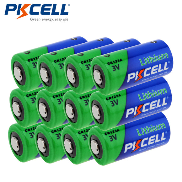 PKCELL 12pcs/lot CR123A 3V Lithium Battery 16430 2/3A CR17345 1500mAh 3Volt LiMnO2 Primary Battery For Camera Flashlight