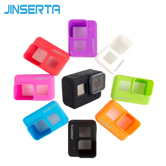 JINSERTA Gopro Silicone Rubber Case Protective Shell Soft Case For Gopro Accessories kits Go pro hero 5 Action Camera