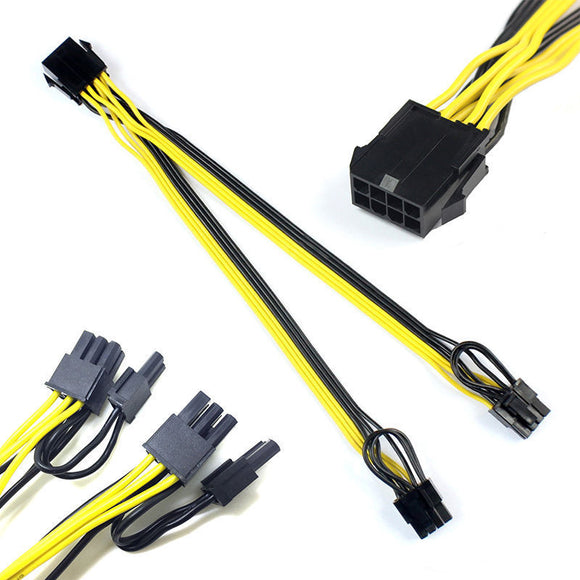 10pcs PCI-e 8pin to Dual 8Pin / PCIe 8pin-2x(6+2pin) Graphics Video Card Power Cable Cord 18AWG Wire