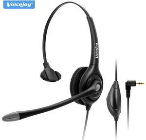 VoiceJoy Professional call center headset with 2.5mm plug ,QD cable+ Volume+Mute telephone headset for 2.5mm jack Phone