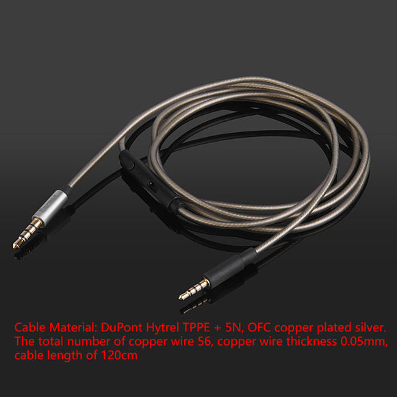 Upgrade Sliver Audio Cable For Sony Mdr-X10 X920 Xb900 MDR-ZX700 headphones With Remote Mic