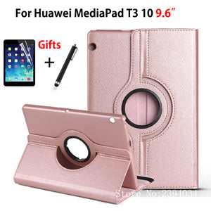 "Case For Huawei MediaPad T3 10 AGS-L09 AGS-L03 W09 9.6"" Cover 360 Rotating Funda Tablet for Honor Play Pad 2 9.6 Case+Film+Pen"
