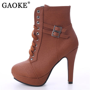 GAOKE 2018 Autumn Winter Women Ankle Boots High Heels Lace up Leather Double Buckle Platform Short Booties New Black