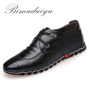 BIMUDUIYU 2018 Spring Fashion New Super Fiber Leather Soft Comfortable Men's Casual Shoes Portable Driving Shoe Laces Flats