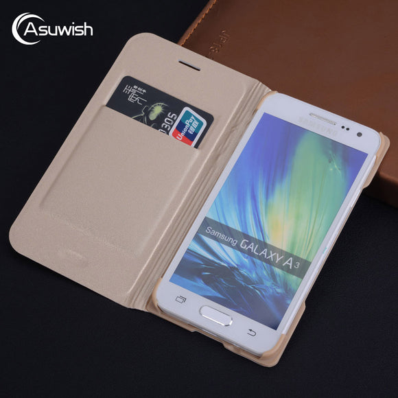 Asuwish Flip Cover Leather Case For Samsung Galaxy A3 2015 A300 A300F A300H Phone Case Cover Card Wallet For Samsung A3 2015