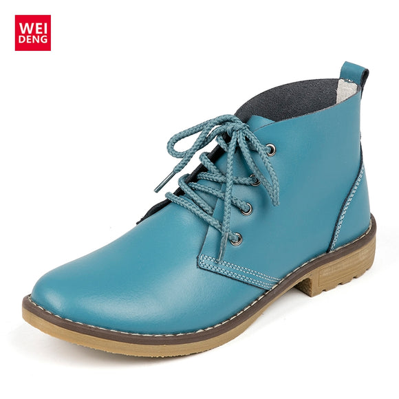WeiDeng Genuine Leather Women Boots Fashion Winter Lace Up Classic Shoe High Style Flats Brand Casual Shoes Boots 2017 4 Color