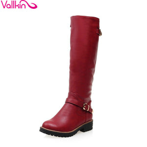 VALLKIN 2017 All-match Med-heel Black Grey Red Ladies Shoes Winter Shoes Round Toe Fashion Women Knee-high PU Leather Boots