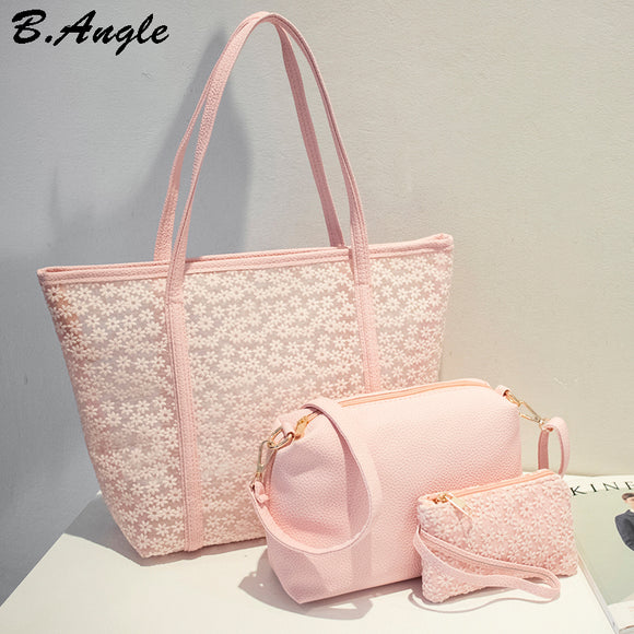 High quality flowers lace women bag beach bag handbags women famous brands leather handbags tote bag 3 bags 1 set