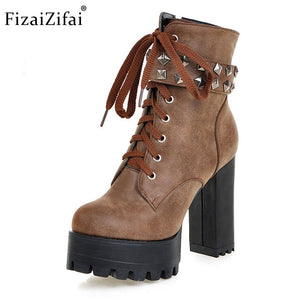 FizaiZifai Size 33-48 Women Square High Heel Boots Ladies Rivets Zip Warm Ankle Boots Women'S Shoes Cross Strap Footwear