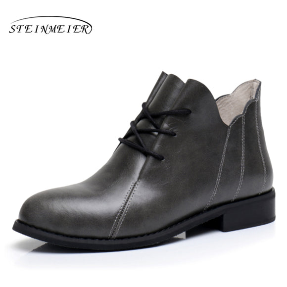 Genuine Leather Ankle Boots Comfortable quality soft Shoes Brand Designer Handmade grey US 9.5 with fur 2017