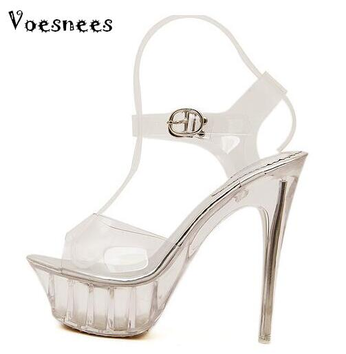 Sandals women Platform model T Stage Show Sexy High-heeled Shoes 14 cm High Transparent Crystal Waterproof Plus Size 35-43