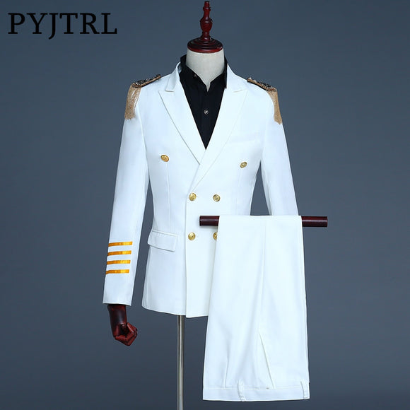 PYJTRL Brand New White Navy Blue Mens Captain Suits Latest Coat Pant Designs 2018 Men Groom Wedding Suit Blazer Hombre Slim Fit