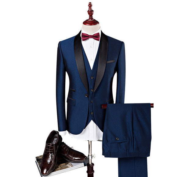 Famous Brand Mens Navy Suits Wedding Groom Plus 3 Pieces( Jacket+Vest+Pant) Slim Fit Casual Blazer Male Smoking Masculino