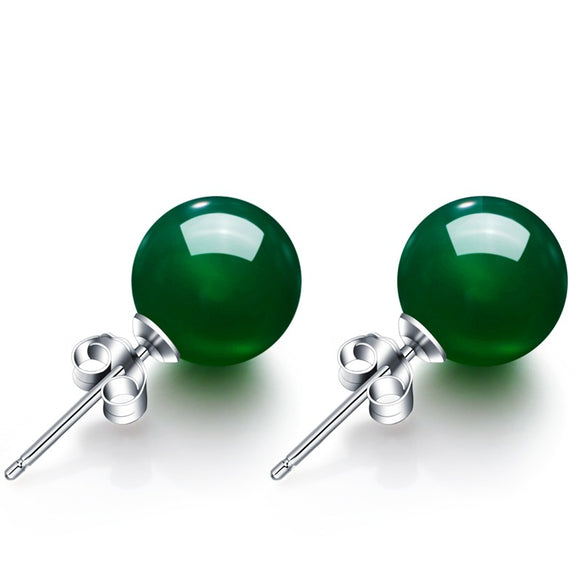 6-8mm Round Natural Green Agate Stud Earrings For Women S925 Sterling Silver Vintage Fine Jewelry Wedding Brincos High Quality