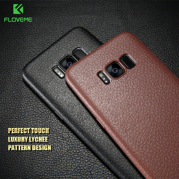 FLOVEME Ultra Thin Leather Skin Case For Samsung S8 S8 Plus Business Style Case For Samsung Galaxy S8 S8 Plus Back Protector
