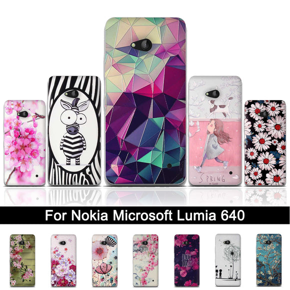 Soft TPU Case For Microsoft Nokia Lumia 640 Luxury 3D Relief Printing Cartoon Cover Silicon Back Phone Case for Lumia 640 Shells