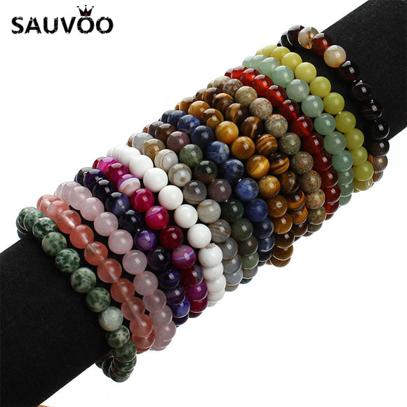2018 New Summer Style Natural Stone Beads Bracelet Women Men Pink Blue White Yellow Red Beaded Stretch Bracelets Bangles F2852