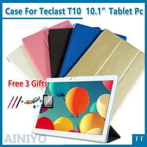 "Ultra thin fashion pu leather case For Teclast T10 10.1"" Tablet PC Protective Cover + protector + stylus gifts"