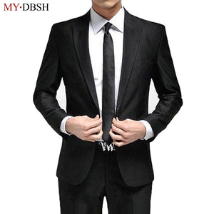 New Fashion Black White Wedding Suits 2 Piece Mens Suits Slim Fit (Jacket + Pants) Groomsman Groom Tuxedos Suits Business Suits